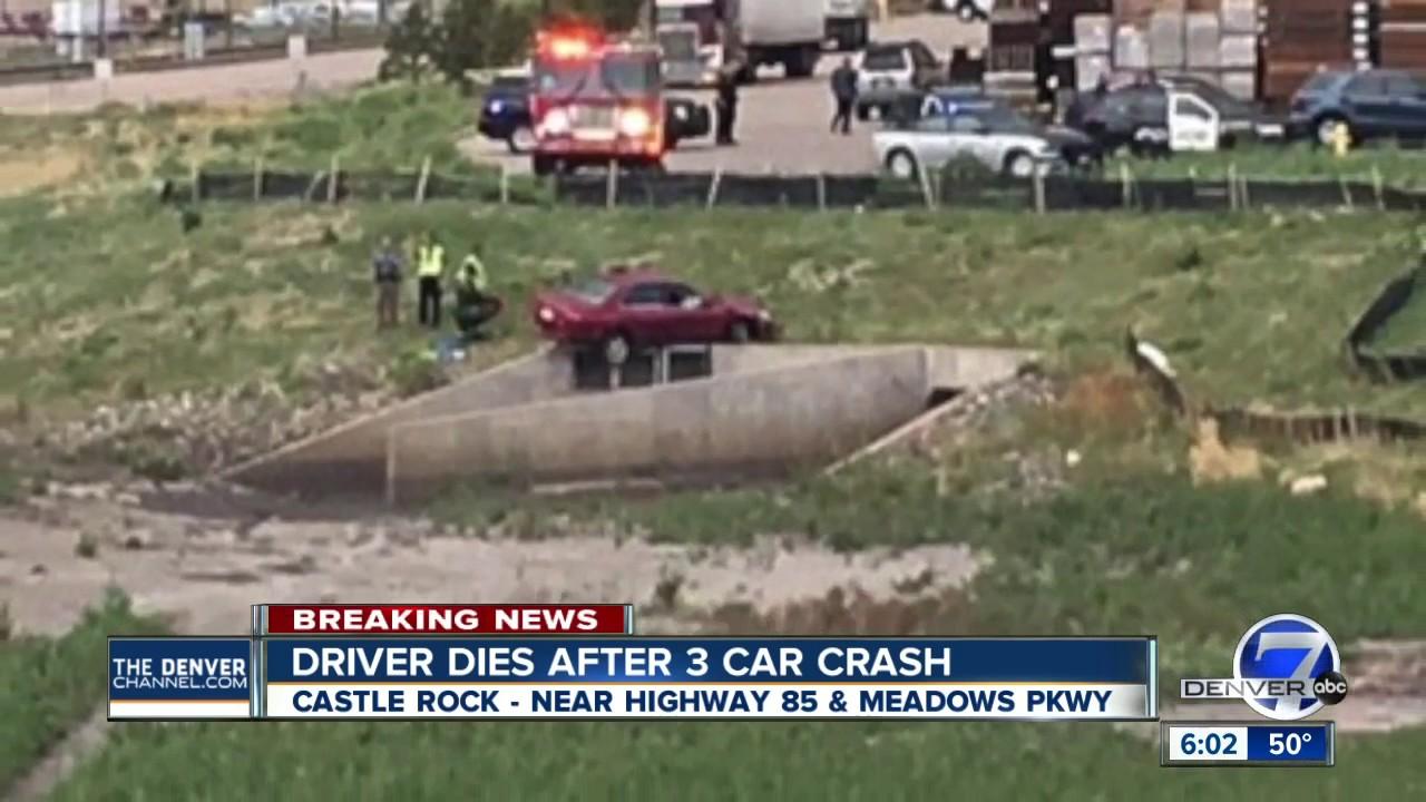 Driver dies after 3-car crash in Castle Rock