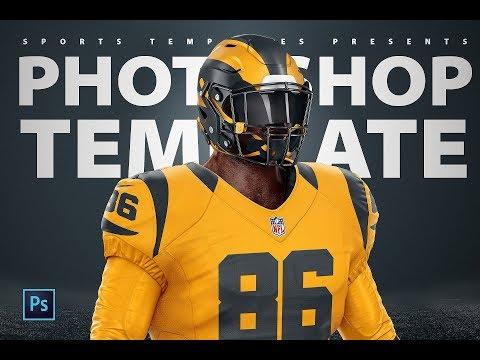 Football Uniform Template Mockup | Rams Color Rush Tutorial