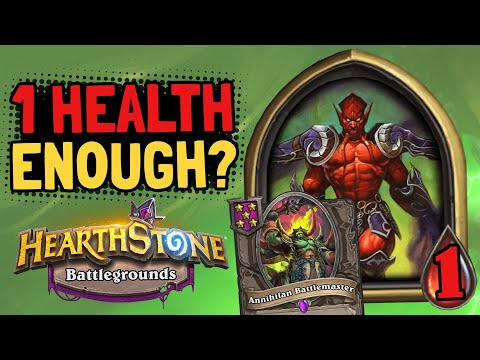 IS 1 HEALTH ENOUGH? Annihilan Battlemaster Thinks So! | Battlegrounds | Hearthstone thumbnail