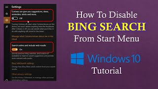 How to Disable / Remove Bing from Start Menu in Windows 10 Tutorial