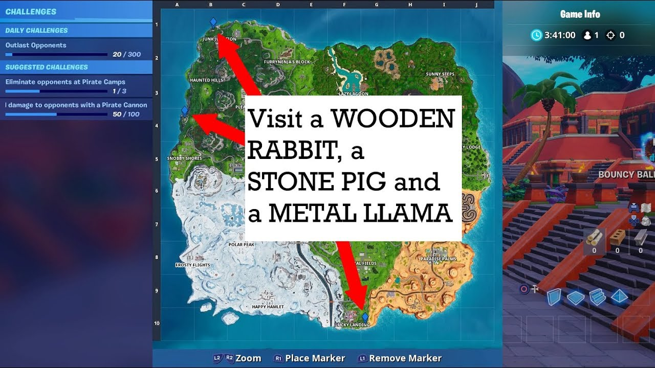 Visit A Wooden Rabbit A Stone Pig And A Metal Llama Fortnite