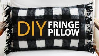 How to Make An EASY DIY Fringe Fleece Tie Pillow!