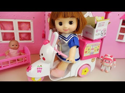 Thumbnail: Baby doli and rabbit scooter baby doll delivery car surprise toys play