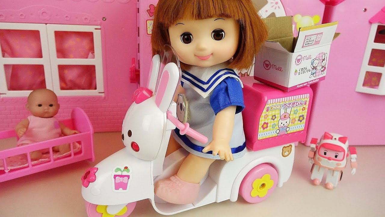 Baby Doli And Rabbit Scooter Baby Doll Delivery Car Surprise Toys