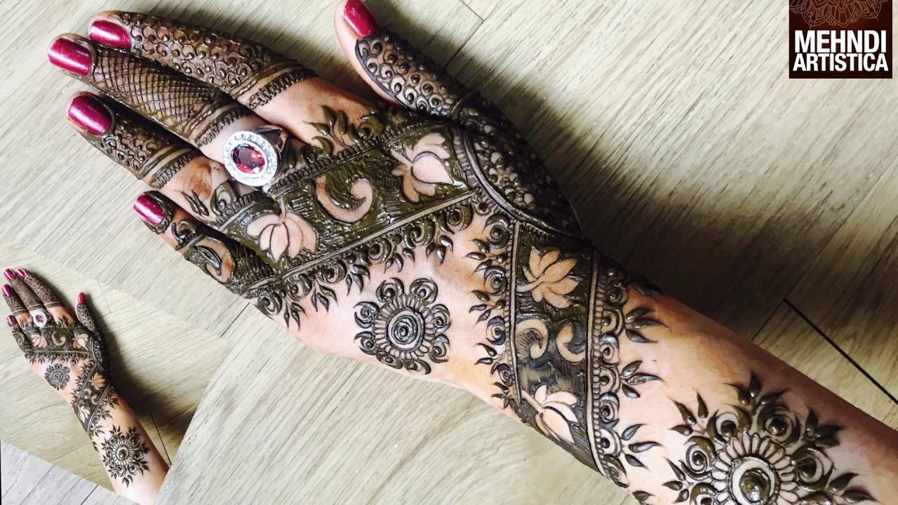 Easy Simple Lotus Mehndi Design For Hand Diwali Laxmi Pujan Floral