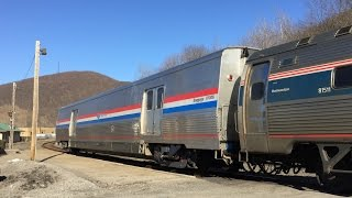 Amtrak HD: GE P32-8WH 512 On Pennsylvanian Train 43 w/ Viewliner II Bag Car @ Tyrone, PA (3/22/15)