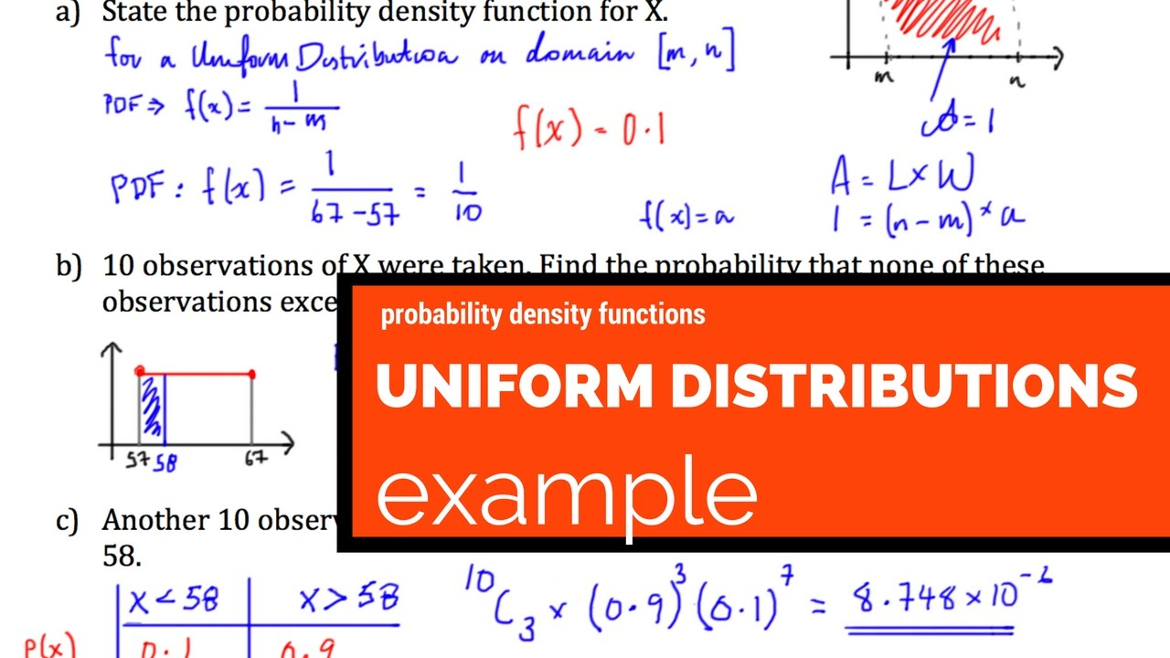 Uniform Distribution Probability Density Function Example Youtube