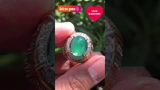 Natural Batu Mulia Bacan Doko Gulau Lawasan Kristal Plong Perak Handmade