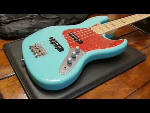 ESP SEAFOAM GREEN FENDER STYLE VINTAGE EDWARDS JAZZ BASS ABALONE INLAYS UP CLOSE VIDEO REVIEW