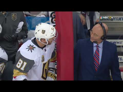Jonathan Marchessault is having fun with Pierre Mcguire