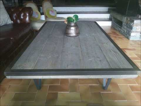 Diy table basse style industriel et bois vieillie avec for Buffet avec table integree