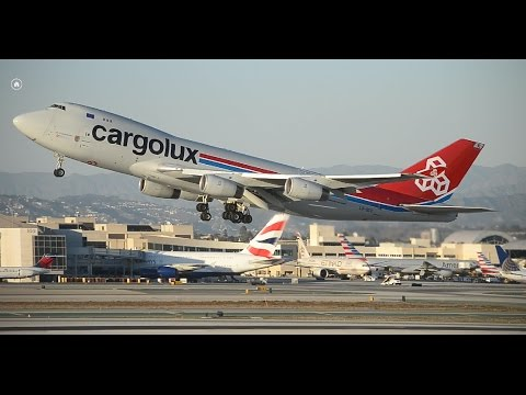 Cargolux Airlines International Boeing 747-400F [LX-SCV] Takeoff From LAX
