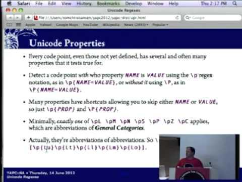 Tom Christiansen   Unicode Regexes