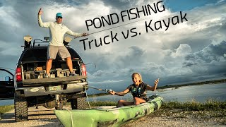 Truck vs. Kayak Bank Pond Fishing