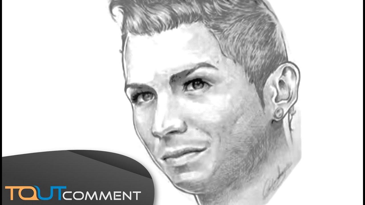 Dessiner cristiano ronaldo en 7 minutes youtube - Footballeur a colorier ...