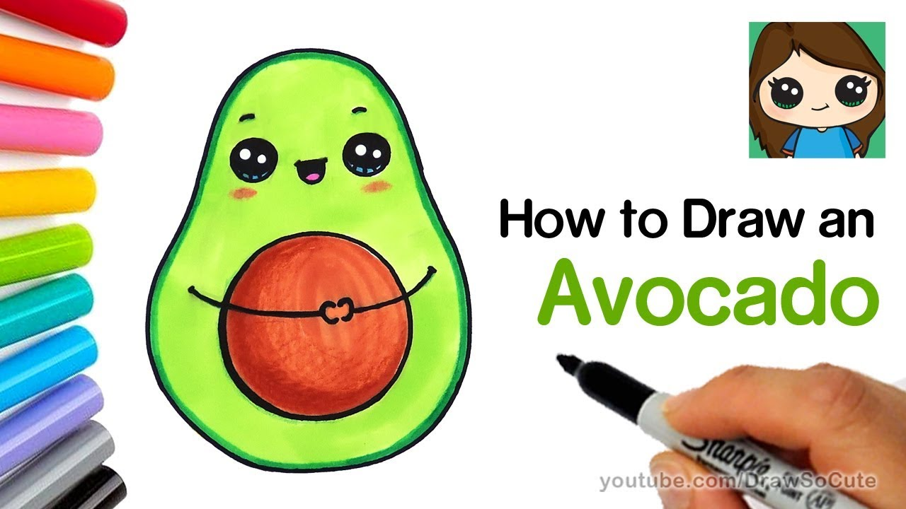How To Draw An Avocado Cute And Easy Youtube