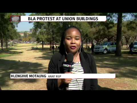 Black Lawyers Association members picket outside the Union Buildings in Pretoria