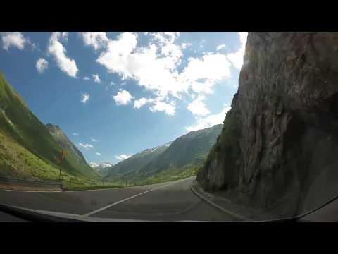 Driving through the Gotthard Pass (San Gottardo) in Switzerland