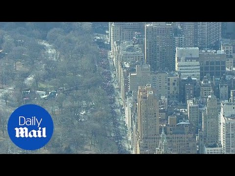 Aerial footage shows beginning of 2018 Women's March in NYC - Daily Mail