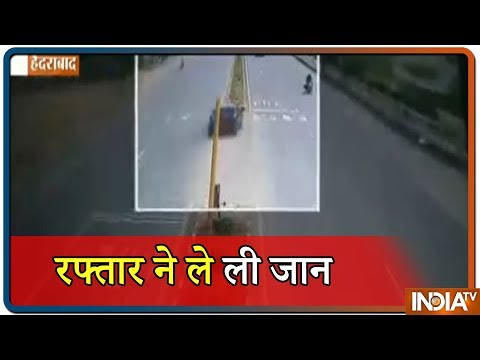 VIDEO: Three dead, Two injured in a Horrific Car accident in Hyderabad