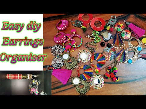 #jewellery Earrings organiser।how to make organiser।Easy diy idea।earrings collection।
