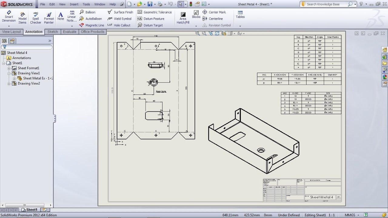 Solidworks Sheet Metal Drawing Tutorial Bend Line Flat