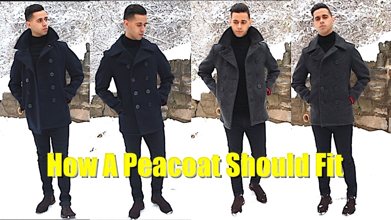 94152174537 Schott NYC Slim Fit PeaCoat Sizing   Review - How To Style A PeaCoat - How  A Peacoat Should Fit