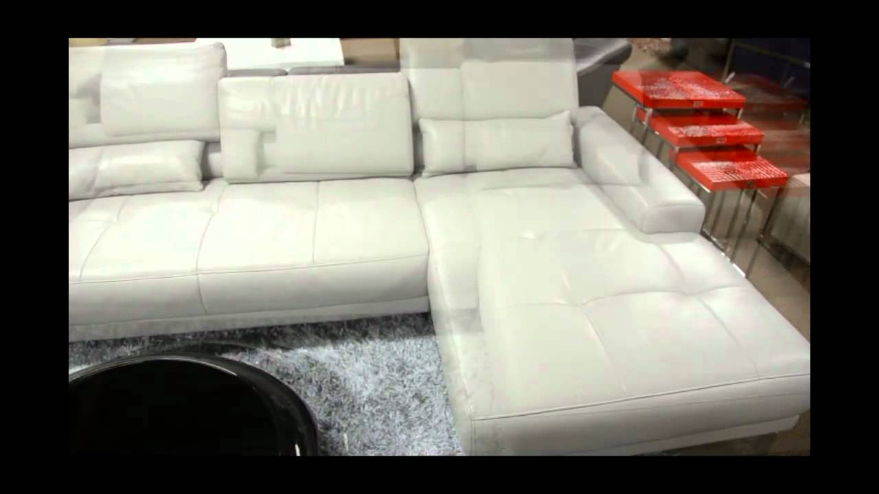 Modern Leather Sectional Sofa with Headrests | (866)397-0933 LAFurnitureStore.com : white modern leather sectional - Sectionals, Sofas & Couches