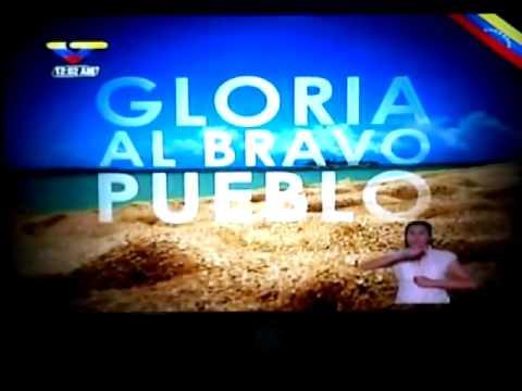 Himno Nacional Gloria Al Bravo Pueblo En VTV Cantado Por Chavez
