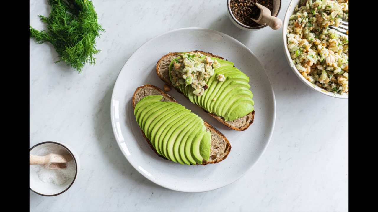 Vegan Chickpea Avocado Salad on Toasted Sourdough