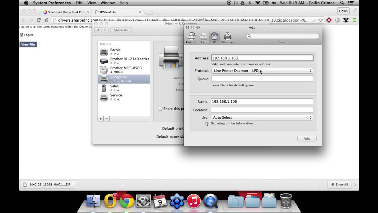 How To Setup Printing With Mac OSX On Sharp Printer