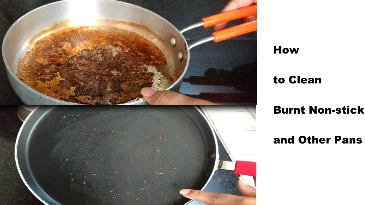 How to wash a burnt pan with improvised means 43