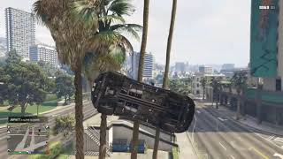 GTA V - Insane Stunt - Car Get Stuck over the top in tree branch