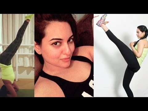 Sonakshi Sinha fat to fit yoga & gym workout!