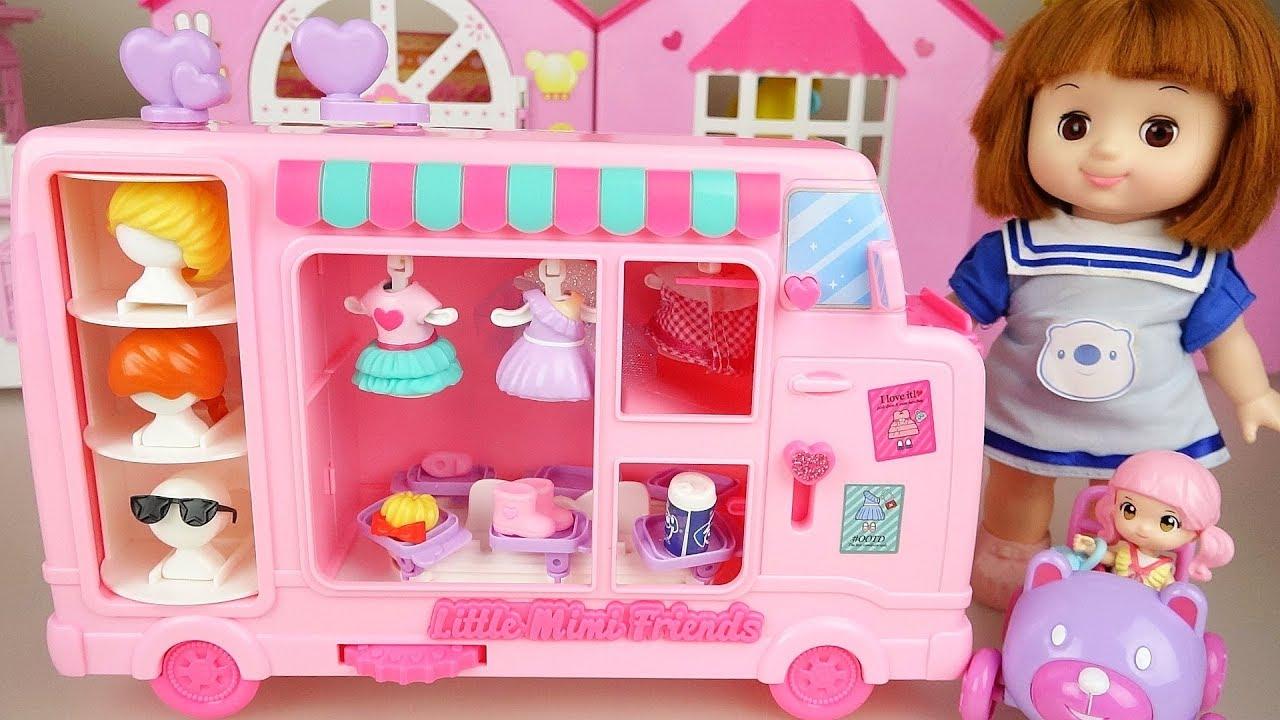 Baby doll dress and hair shop  bag car play baby Doli house