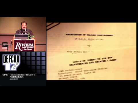 DEF CON 17 - Jason Scott - That Awesome Time I Was Sued for Two Billion Dollars