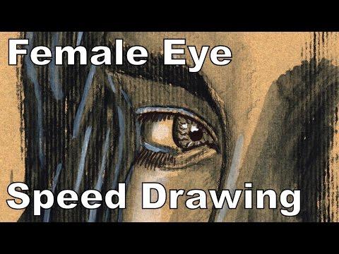Female Eye Painting On Toned Card Stock