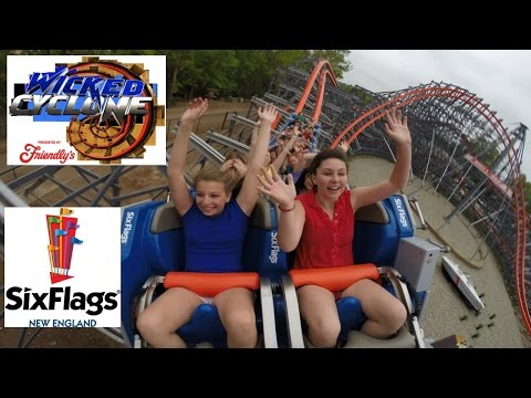 Wicked Cyclone POV HD Six Flags New England Roller Coaster Rocky Mountain Construction B-Roll