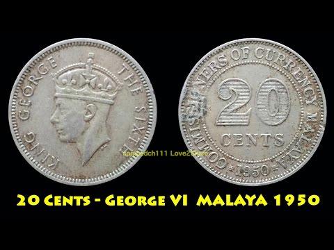 L2S เหรียญกษาปณ์หมุนเวียนมาลายา 20 Cents1950 (20 Cents George VI  MALAYA 1950)