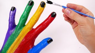 Learn Colors with Finger Nursery Rhymes Paint for Children and Kids