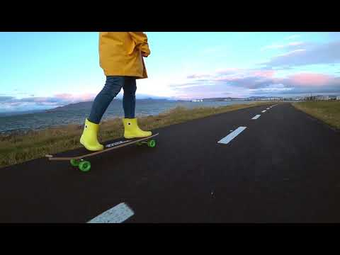 Awesome Iceland Reykjavik city longboarding video, SONY FDR  X3000