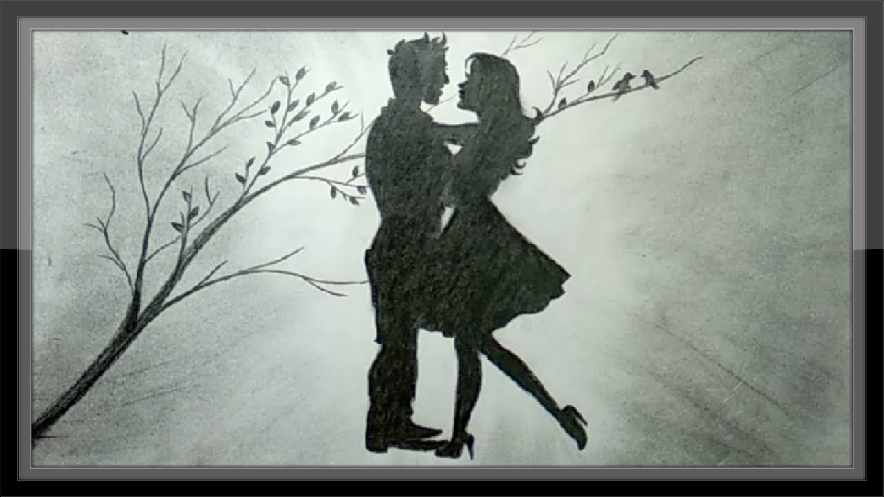 Pencil drawing romantic scenery the love draw step by step