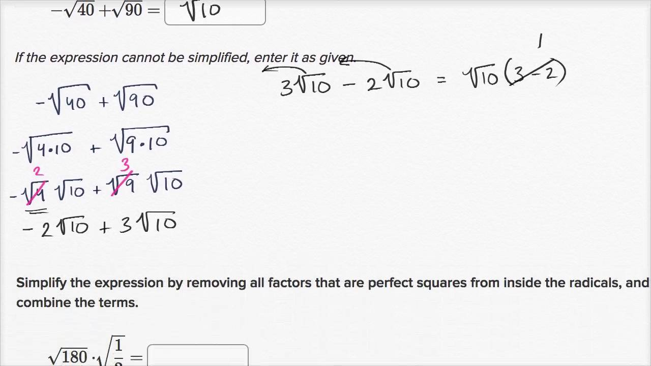 Simplifying Square Root Expressions No Variables Video Khan Academy In other words, a number y whose square (the result of multiplying the number by itself, or y ⋅ y) is x. simplifying square root expressions no