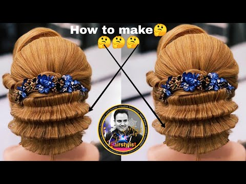 Latest zig zag pattern updo hairstyle 2019/ latest wedding bun hairstyle / new judha hairstyle 2019 thumbnail
