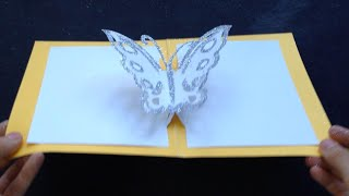Easy Butterfly Kirigami Pop Up Card, DIY Birthday Day Gift Craft