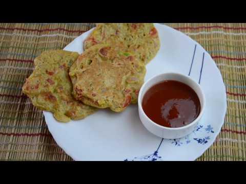 Healthy, Gluten-free Breakfast/ Snack Recipe: Savoury Oats & vegetable Pancakes
