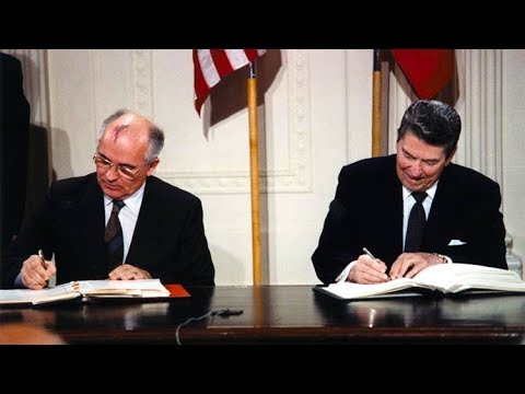 Ronald Reagan and Mikhail Gorbatchev sign Intermediate Range Nuclear Forces Treaty [8 DEC 1987]