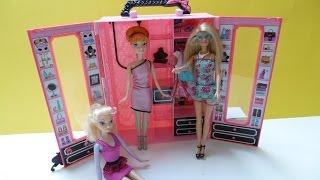 Bộ Đồ Chơi Tủ Quần Áo Mới Của Búp Bê Barbie - Anna, Elsa Mặc Váy Của Barbie (Bí Đỏ)