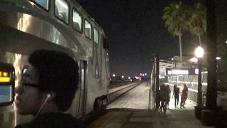 Metrolink departing Fullerton station with F125 engine 2017-10-28